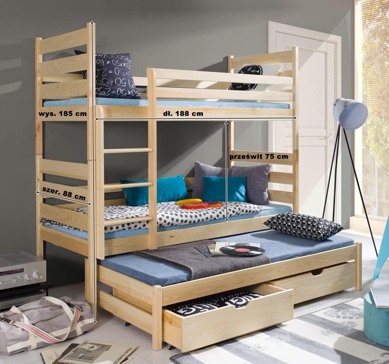łóżko Piętrowe Trzyosobowe Maniek Meblegratka