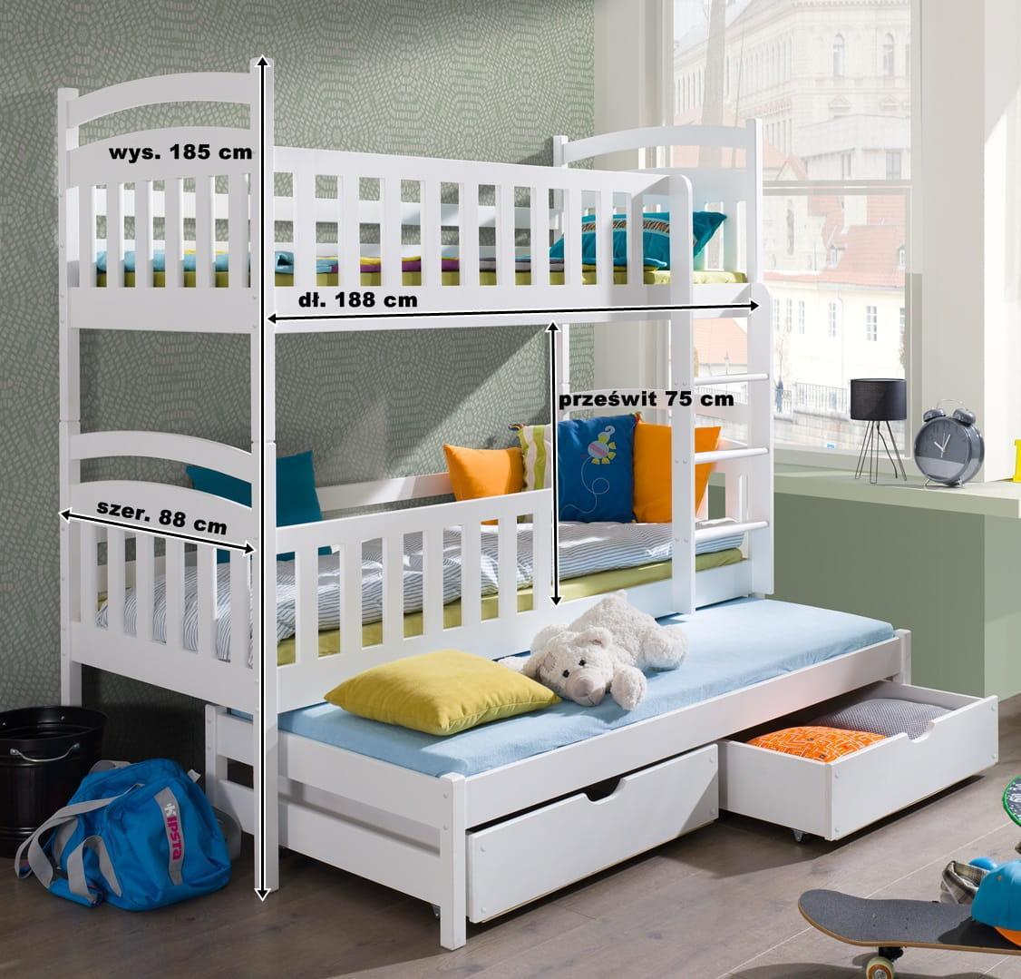 łóżko Piętrowe Wikuś Trzyosobowe Meblegratka